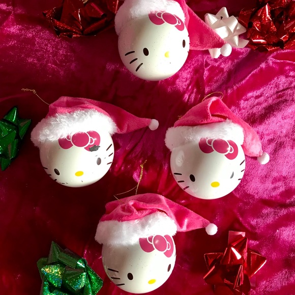 4 Hello Kitty Christmas Ornaments